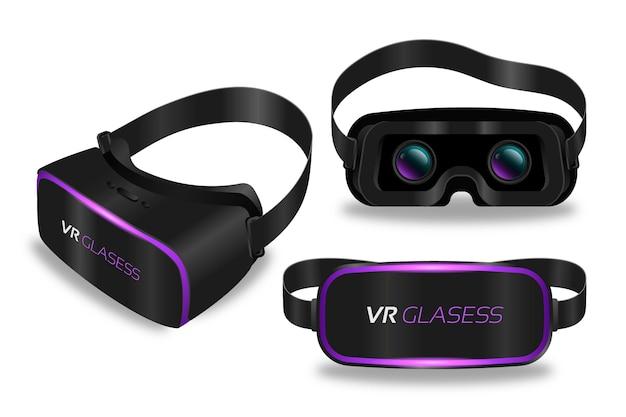 Set of realistic virtual reality headset