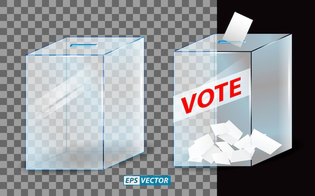 Set of realistic vote box or glass ballot box transparent or voting paper inserted to vote box