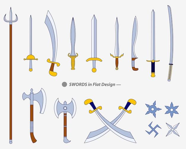 Set of realistic warrior sword or cross swords shield or axe sword cartoon shield or keris