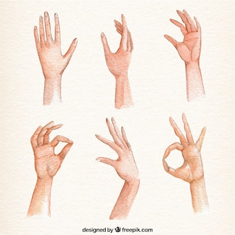 Set of realistic watercolor hand gestures