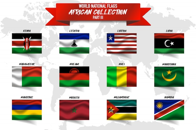Set of realistic waving national flag of african countries on world map . kenya, libya, liberia, mali and other