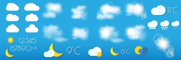 Set of realistic weather forecast widget for mobile application program template vector illustration.