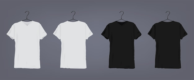 Set of realistic white and black unisex classic t-shirt with round neckline on coat hanger. front and back view.