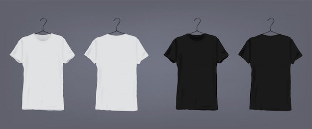 Set of realistic white and black unisex classic t-shirt with v-neck on coat hanger. front and back view.