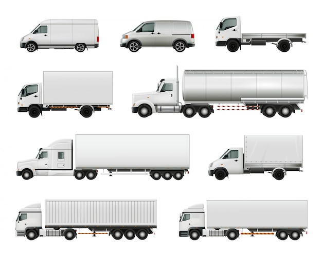 Set of realistic white cargo vehicles