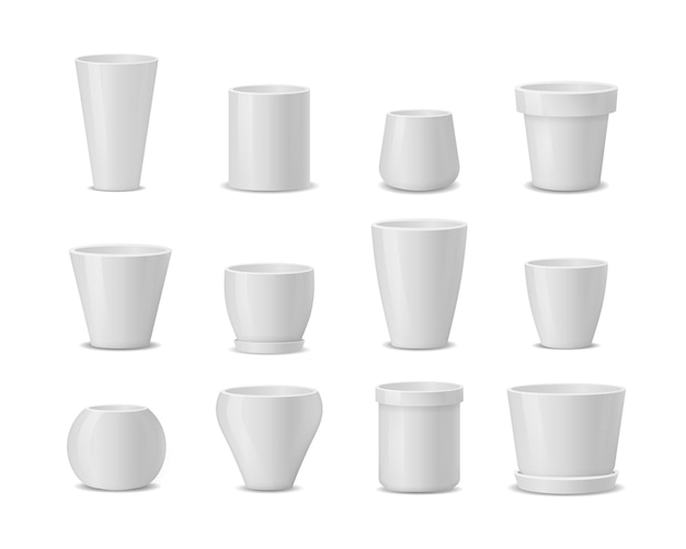 Set of realistic white ceramic flower pots isolated on white