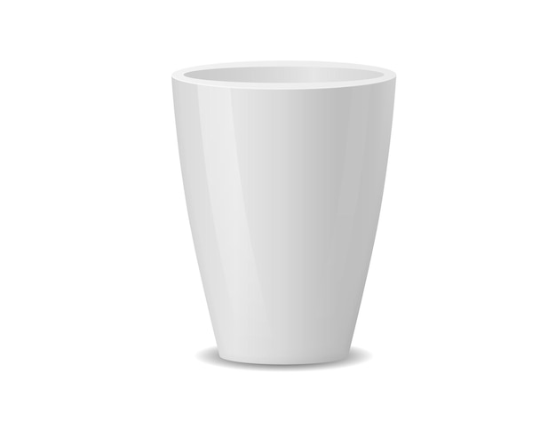 Set of realistic white ceramic flower pots isolated on white.