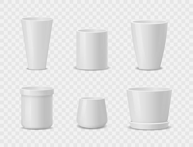 Set of realistic white ceramic flower pots