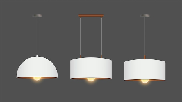 Set of realistic white chandeliers. chandelier is on. loft style. interior design element.