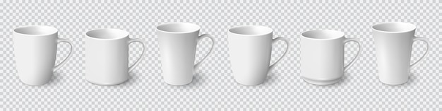 Set of realistic white coffee mugs isolated