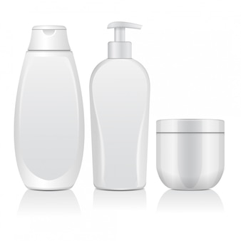 Set of realistic white cosmetic bottles. tube, container for cream, bottle with dispencer.   illustration