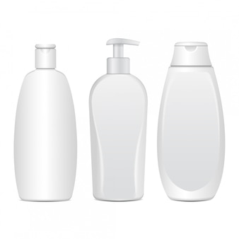 Set of realistic white cosmetic bottles. tube or container for cream, ointment, lotion. cosmetic vial for shampoo.   illustration