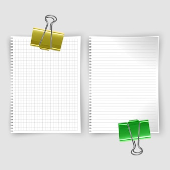 Set of realistic white notebook sheets, sketchbook with lines and notebook in the cell for writing message templates