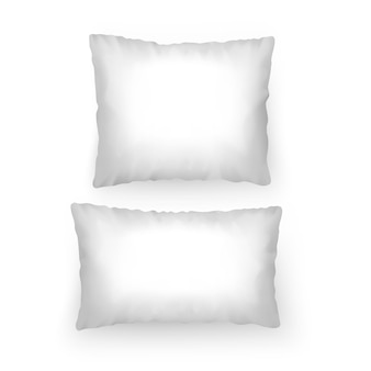 Set of realistic white pillows, mockup for your patterns or design