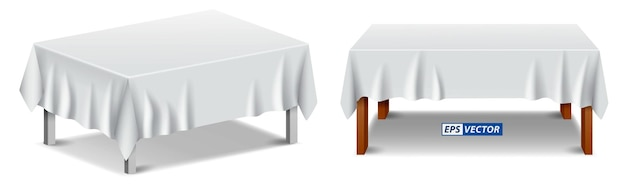 Set of realistic white tablecloth isolated or folded tablecloth with furniture covered or table