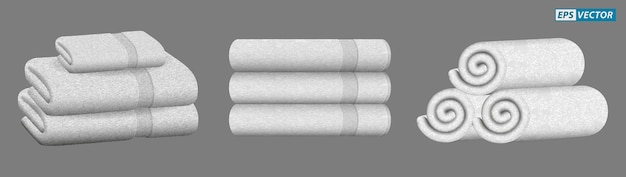Set of realistic white towel isolated or stacked towel for luxury hotel hospital or perfumed towel