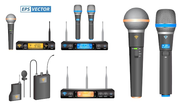 Set of realistic wireless microphone or microphone transmitter receiver or module wireless