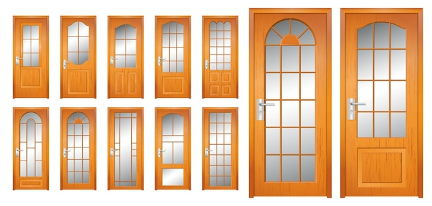 Set of realistic wooden door isolated or modern wooden door style for home office or apartment