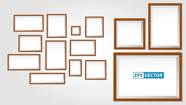 Set of realistic wooden frame or blank photo frames template or mock up empty photo frame brown text