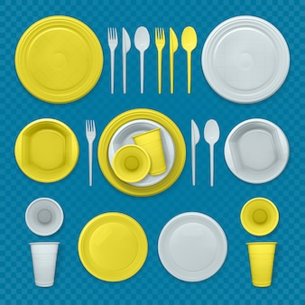 Set of realistic yellow and white plastic dishes