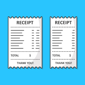 Set of receipt papers set illustration.