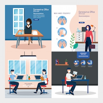 Set of recommendations of 2019-ncov at office vector illustration design