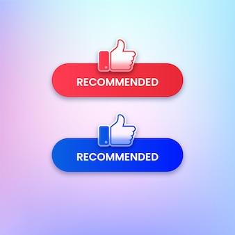 Set of recommended buttons