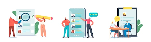 채용 작업, 인터뷰 및 인적 자원을 설정합니다. 새로운 직업을 찾는 사람들은 이력서를 보내고 온라인으로 광고를 게시합니다. 인터넷 응용 자원을 사용하는 캐릭터, 작업. 만화 벡터 일러스트 레이 션
