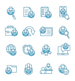Set of recruitment icons with outline style.