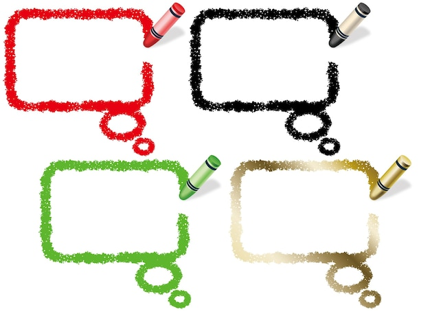 Set of rectangle crayon speech bubbles isolated on white.