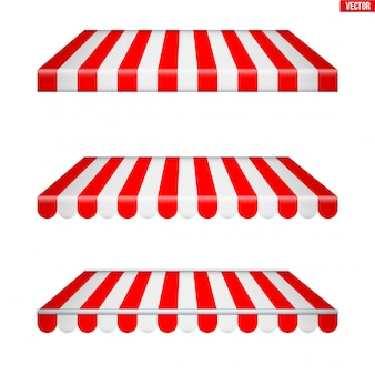 Set of rectangular fabric awnings.