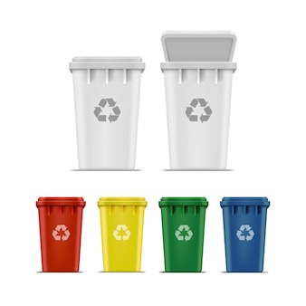 Set of recycle bins for trash and garbage
