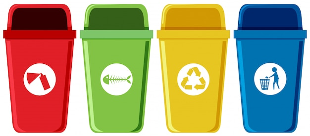 Set of recycling bins