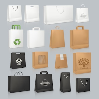Установите бумажные пакеты для вторичной переработки. картон для переноски с экологичным логотипом. одноразовая упаковка с ручкой для покупки или доставки. органические экологические коробки и упаковка