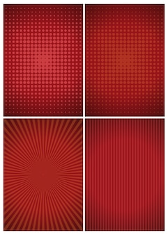 Set of red abstract vintage retro backgrounds.