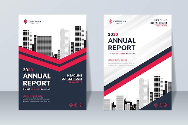 Set of red annual report design template