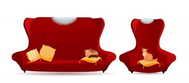 Set of red armchair with sofa and cats