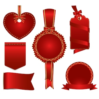 Set of red badges label and ribbon