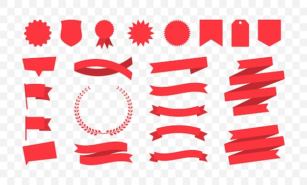 Set of red banners collection of different shapes tags ribbons
