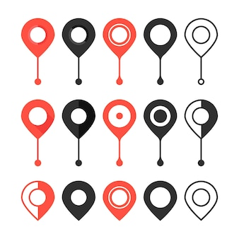 Set of red and black map pin. concept of locate, discovery, logistics, user interface element, minimal ui. isolated on white background. flat style trend modern logotype design vector illustration