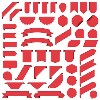 Set of red blank banners ribbon.