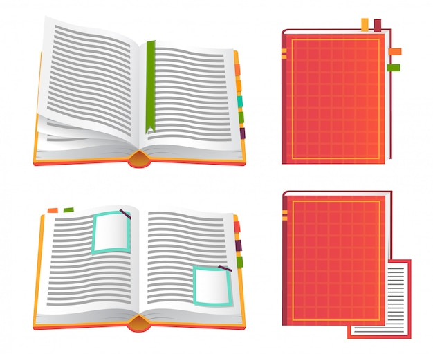 Set of red books icons.