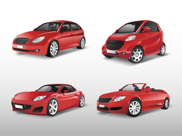 Set of red car vectors