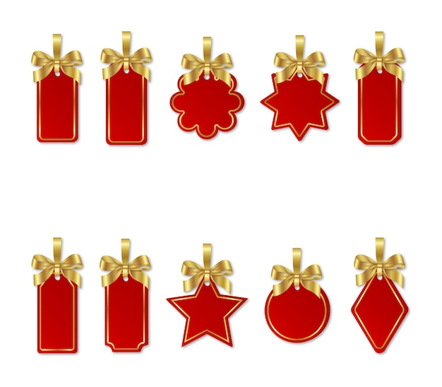 Set of red christmas price tags with gold bows