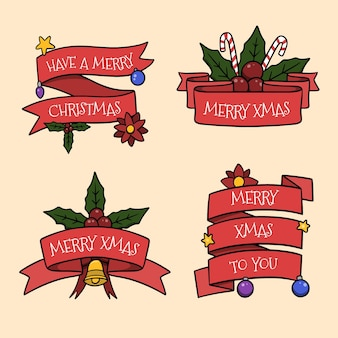 Set of red christmas ribbons