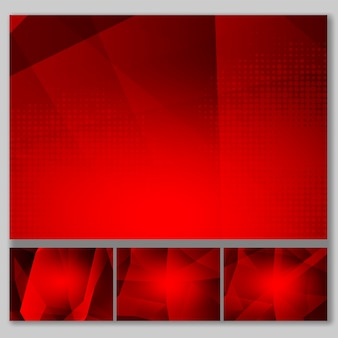 Set red color polygon abstract background