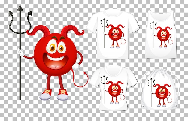 Set of red devil cartoon character on different shirt mockup