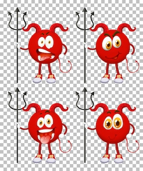 Set of red devil cartoon character with facial expression on transparent background