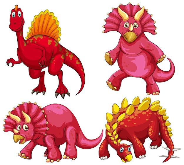 Set of red dinosaur cartoon character
