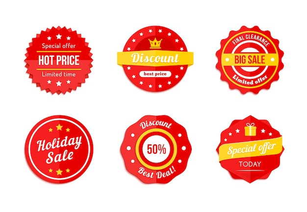 Set of red discount sale labels